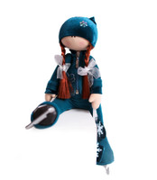Tilda Doll by IceDress- Figure Skater - Butterfly(Turquoise with velvet and crystals Preciosa)