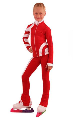 IceDress Figure Skating Outfit - Thermal - Cross-Roll (Red with White)