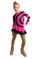 IceDress Figure Skating Dress - Thermal - Serpentine (Fuchsia with Black Lycra)