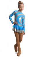 IceDress Figure Skating Dress - Thermal - Serpentine (Blue with Silver Lycra)