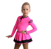 IceDress Figure Skating Dress - Thermal - Duet (Hot Pink with Black)