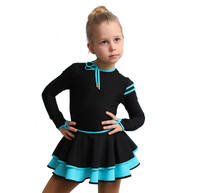 IceDress Figure Skating Dress - Thermal - Duet (Black with Turquoise)