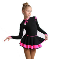 IceDress Figure Skating Dress - Thermal - Duet (Black with Hot Pink)