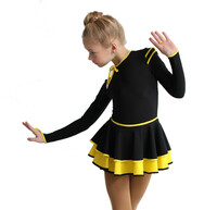 IceDress Figure Skating Dress - Thermal - Duet (Black with Yellow)