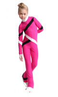IceDress Figure Skating Overalls - Thermal - Quad (Fuchsia, Black, White)