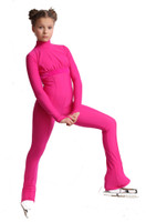 IceDress Figure Skating Overalls - Thermal - Style (Fuchsia with Velvet Trim)