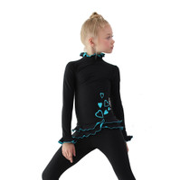 IceDress Figure Skating Outfit - Thermal - Minx (Black with Turquoise)