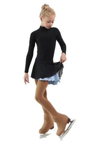 IceDress - Figure Skating Skirts - Harmony (Black with Pearl Blue )