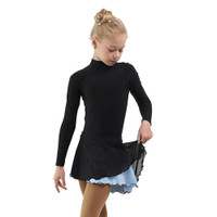 IceDress - Figure Skating Skirts - Harmony (Black with Pearl Blue )