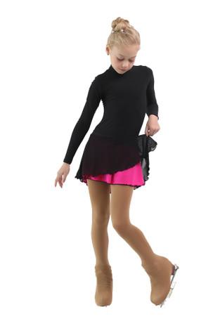 IceDress - Figure Skating Skirts - Harmony (Black with Fuchsia )