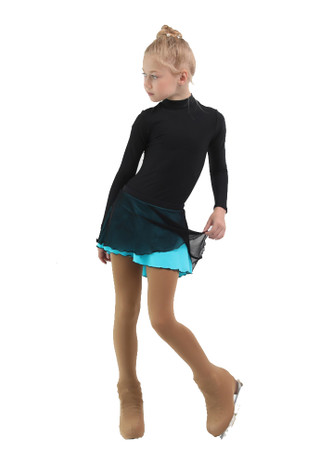 IceDress - Figure Skating Skirts - Harmony (Black with Turquoise )