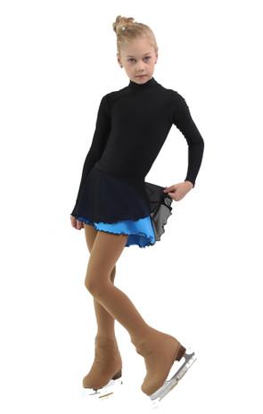 IceDress - Figure Skating Skirts - Harmony (Black with Blue )