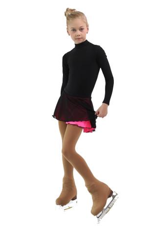 IceDress - Figure Skating Skirts - Harmony (Black with Hot Pink )