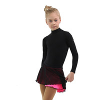 IceDress - Figure Skating Skirts - Harmony (Black with Hot Pink )
