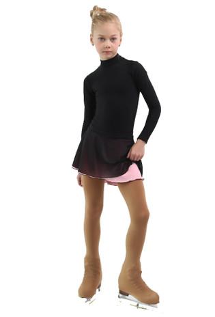 IceDress - Figure Skating Skirts - Harmony (Black with Light Pink )