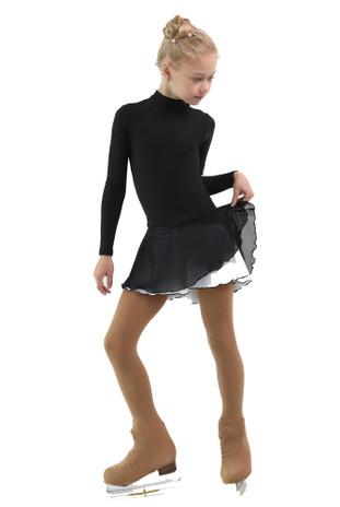 IceDress - Figure Skating Skirts - Harmony (Black with White )