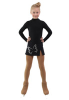 IceDress - Figure Skating Skirts - Rogue (Black with Big Butterfly )