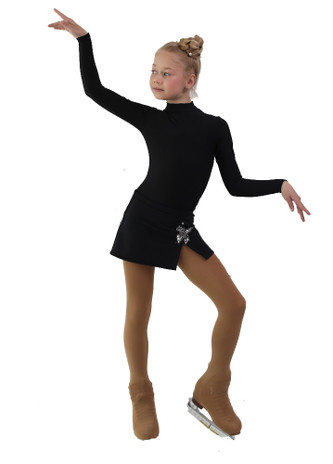 IceDress - Figure Skating Skirts - Rogue (Black with Butterfly )