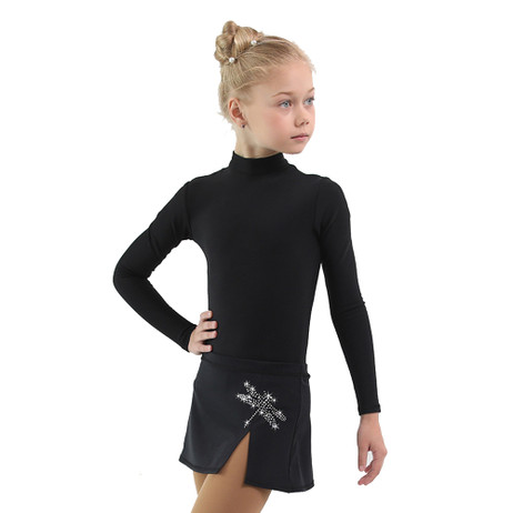 IceDress - Figure Skating Skirts - Rogue (Black with Dragonfly )