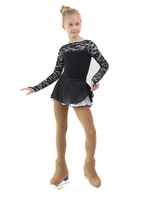 IceDress Figure Skating Dress - Thermal - Harmony (Black with White)