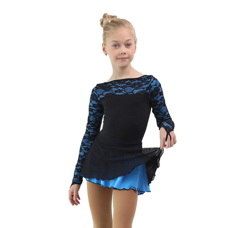 IceDress Figure Skating Dress - Thermal - Harmony (Black with Blue)