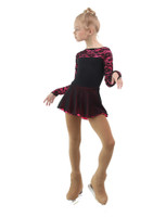IceDress Figure Skating Dress - Thermal - Harmony (Black with Hot Pink)