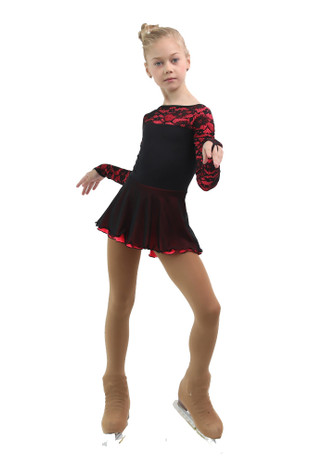IceDress Figure Skating Dress - Thermal - Harmony (Black with Hot Coral)