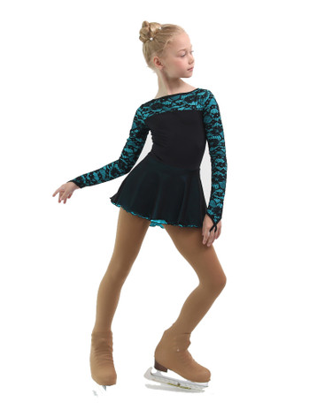IceDress Figure Skating Dress - Thermal - Harmony (Black with Turquoise)