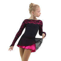IceDress Figure Skating Dress - Thermal - Harmony (Black with Fuchsia)