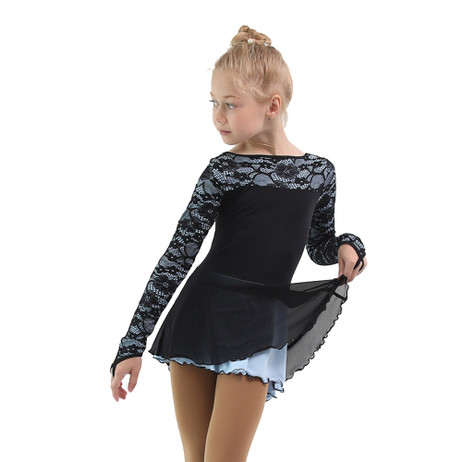 IceDress Figure Skating Dress - Thermal - Harmony (Black with Pearl Blue)