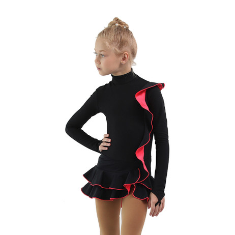 IceDress Figure Skating Dress - Thermal - Flamenco (Black with Hot Coral)