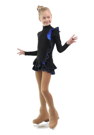 IceDress Figure Skating Dress - Thermal - Flamenco (Black with Cornflower)