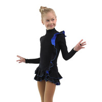 IceDress Figure Skating Dress - Thermal - Flamenco (Black with Cornflower)