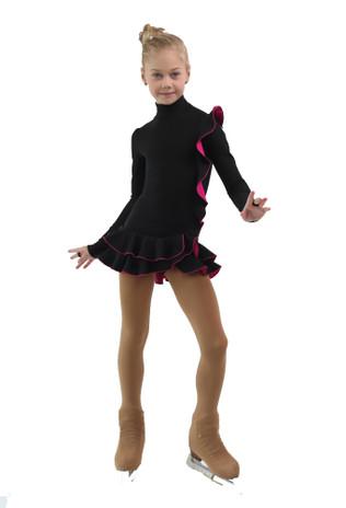 IceDress Figure Skating Dress - Thermal - Flamenco (Black with Fuchsia)