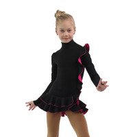 IceDress Figure Skating Dress - Thermal - Flamenco (Black with Fuchsia)