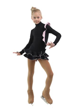IceDress Figure Skating Dress - Thermal - Flamenco (Black with Light Pink)