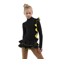 IceDress Figure Skating Dress - Thermal - Flamenco (Black with Yellow)
