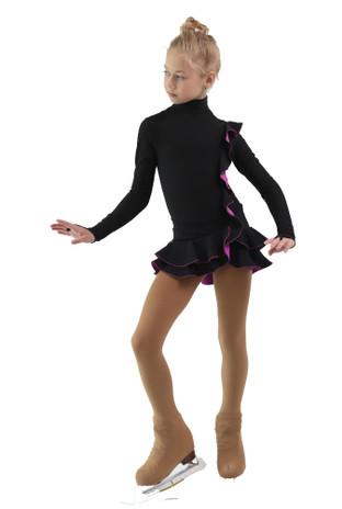 IceDress Figure Skating Dress - Thermal - Flamenco (Black with Purple)