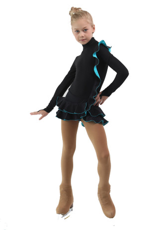 IceDress Figure Skating Dress - Thermal - Flamenco (Black with Turquoise)