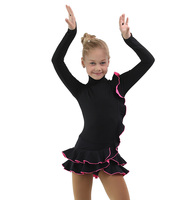 IceDress Figure Skating Dress - Thermal - Flamenco (Black with Hot Pink)