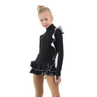 IceDress Figure Skating Dress - Thermal - Flamenco (Black with White)