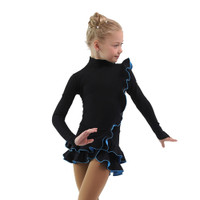 IceDress Figure Skating Dress - Thermal - Flamenco (Black with Blue)