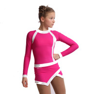 IceDress Figure Skating Dress - Thermal - IceSports (Fuchsia with White)