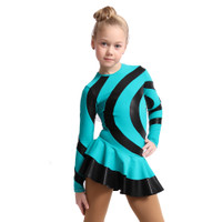 IceDress Figure Skating Dress - Thermal - Serpantine (Mint with Black Lycra)