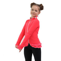 IceDress Figure Skating Jacket - Thermal - Minx (Coral, White. Black)