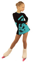 IceDress Figure Skating Dress - Thermal - Velvet (Black with Turquoise, Ornament)