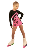 IceDress Figure Skating Dress - Thermal - Velvet (Black with Pink, Ornament)