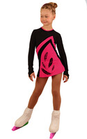IceDress Figure Skating Dress - Thermal - Velvet (Black with Raspberry, Ornament)