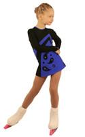 IceDress Figure Skating Dress - Thermal - Velvet (Black with Cornflower, Ornament)