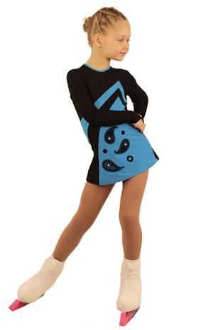 IceDress Figure Skating Dress - Thermal - Velvet (Black with Blue, Ornament)